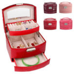 New              Leather Jewelry Box Storage Organizer Necklace Bracelet Ring Earring Case