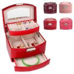 New              Leather Jewelry Box Storage Organizer Necklace Bracelet Ring Earring Case