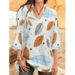 New              3/4 Sleeve Casual Loose Floral Printed Shirts Blouse