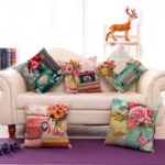 New              Retro Style Decoration Cushion Ccover Square Cotton Linen Pillow Case
