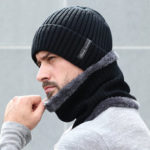 New              Fleece Lined Warm Beanie Hat Knitted Hat Scarf