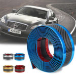 New              Car Stickers Carbon Fiber Blue Rubber Door Sill Protector Edge Guard Strip 5CM*3M