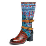 New              SOCOFY Bohemian Printing Leather Mid Calf Boots