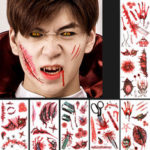New              Halloween Props Tattoo Stickers Horror Simulation Wound Realistic Blood Scars Scratches Stitch Pattern