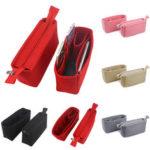 New              2Pcs Felt Insert Organizer Bag Handbag Holder Multi Pocket Purse Cosmetic Zipper