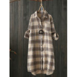 New              Women Long Sleeve Plaid Casual Asymmetrical Blouse