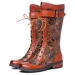 New              SOCOFY Embossed Genuine Leather Stitching Mid Calf Boots