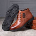 New              Brogue Carved Stitching Casual Business Soft Leather Boots