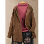 New              Solid Color Corduroy Long Sleeve Hooded Coats