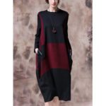 New              Contrast Color Patchwork Long Sleeve Vintage Dress For Women
