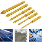 New              6Pcs 6-12mm Ceramic Tile Glass Drill Bit Set 1/4 Inch Hex Shank Triangle Head Drills