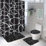 New              Marble Shower Curtain Waterproof Bathroom Bath Mat Set Rug Toilet Lid Covers A Shower Curtain