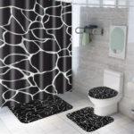 New              Marble Shower Curtain Waterproof Bathroom Bath Mat Set Rug Toilet Lid Covers A Shower Curtain
