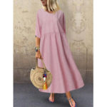 New              Women 3/4 Sleeve O-neck Stripe Casual Maxi Dress