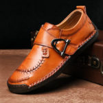 New              Cow Leather Stitching Elastic Band Casual Business Oxfords