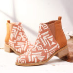 New              Women Folkways Printing Stitching Ankle Boots
