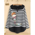 New              Women Casual Cartoon Print Stripe Patchwork Blouse