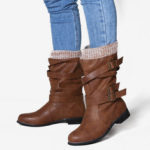New              Women Retro Large Size Belt Buckle Mid Calf Boots