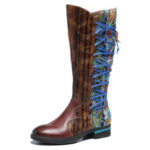 New              SOCOFY Women Pattern Leather Stitching Comfy Mid Calf Boots