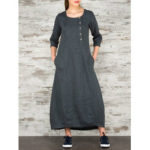 New              Women Vintage Casual Loose Button Pockets 3/4 Sleeve Dress