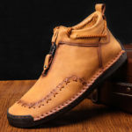 New              Genuine Leather Hand Stitching Casual Business Ankle Boots
