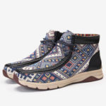 New              LOSTISY Women Folkways Stitching Ankle Boots
