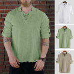 New              Men's Medieval Long Sleeve Shirt Renaissance Lace Up Tops Party Show T Shirt Tee