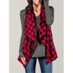 New              Women Plaid Sleeveless Cloak Cardigans Casual Coats