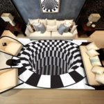 New              Bakeey 3D Bottomless Hole Shaggy Carpet Anti-Skid Rug Home Living Room Floor Mat RS
