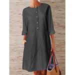 New              Women Striped Printed Buttoned Down Pockets Dress