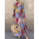New              Vintage Print Geometrical Crew Neck Maxi Dress