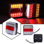 New              2Pcs Car 16LED Square Tail Turn Signal Lamp Brake Light Waterproof For Trailer Truck Boat