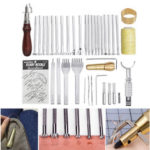 New              45Pcs Leather Craft DIY Work Handmade Stitching Carving Engraving Woking Tool