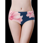 New              Navy Floral Printed Plus Size Seamless Comfy Briefs