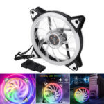 New              12V RGB Rainbow LED Silent Computer PC Case Cooling Cooler Fan CPU 120mm 4-Pin