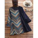 New              Ethnic Print Corduroy Patchwork Long Sleeve Vintage Blouse