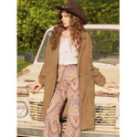 New              Corduroy Solid Color Lapel Long Sleeve Coats For Women