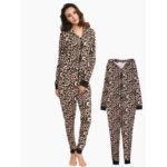 New              Leopard Hooded Jumpsuits Front Zipper Pajama Set