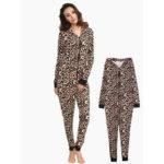 New              Leopard Hooded Jumpsuits Front Zipper Pajama Set