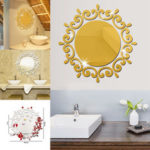 New              Round Flower Mirror Tiles Kitchen Wall Sticker Stick on Decal Home Bedroom Decor