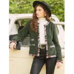 New              Casual Fleece Patch Long Sleeve Jacket For Women