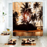 New              180*180cm Tropical Design Bathroom Shower Curtain 3pcs Carpets Bathroom Bath Mat Set