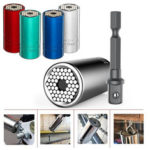 New              7-19mm Universal Sleeve Torque Wrench Head Set Socket Power Drill Ratchet Bushing Key Grip