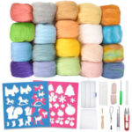 New              Needle Felting Starter Kit 24 Colours Natural Needle Felting Wool Set and Wool Felt Tools for DIY Felting Craft Project