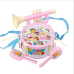 New              Baby Double-Sided Trumpet Sand Hammer Hand Drums Orff Musical Instruments Educational Toys