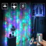 New              3M*2M USB 8 Modes Remote Control 200 LED Curtain String Light with 10 Hooks Festival Christmas Wedding Decor