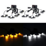 New              8PCS 16W 12V LED Car Emergency Strobe Warning Light Police Fireman Flashing Grill Fog Lamp Kit Yellow/White
