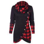 New              Women Plaid Patchwork Irregular Button Sweatshirt