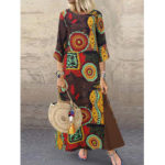 New              3/4 Sleeve Cotton Vintage Printed Long Maxi Baggy Dress