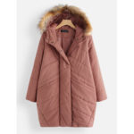 New              Twill Detachable Fur Collar Hooded Thicken Coats